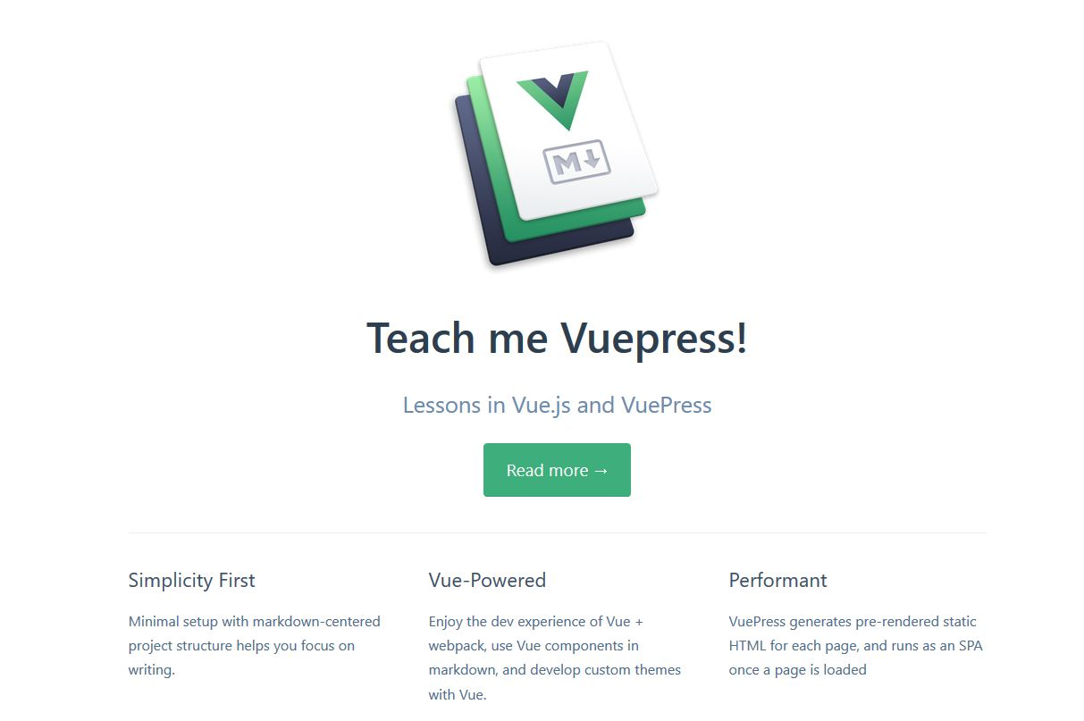 vuepress example website